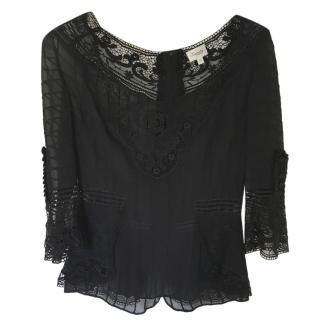 Temperley London Black Lace Detailed Blouse