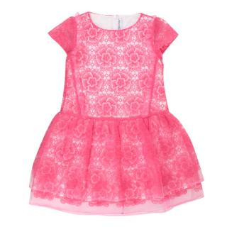 Simonetta Girls Pink Floral Embroidered Dress