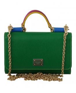 Dolce & Gabbana Textured Leather Sicily Von Wallet on Chain