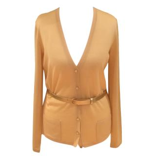 Christian Dior Yellow Silk & Wool Belted Cardigan