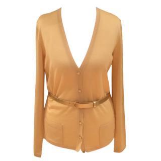 Christian Dior Yellow Silk & Wool Belted Cardigan