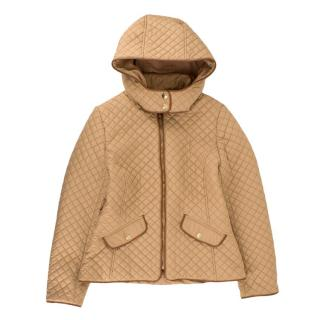 Chloe Camel Quilted Hooded Jacket
