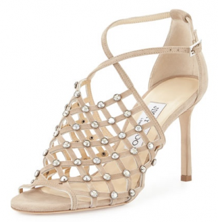 Jimmy Choo 'Donnie 100' crystal embellished suede sandals