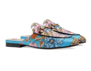 Gucci Princetown flowers and tassels print slippers