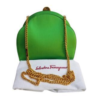 Salvatore Ferragamo green satin shoulder bag