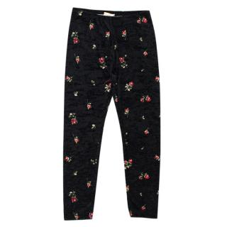 Monnalisa Kids Black Rose Print Velvet Leggings