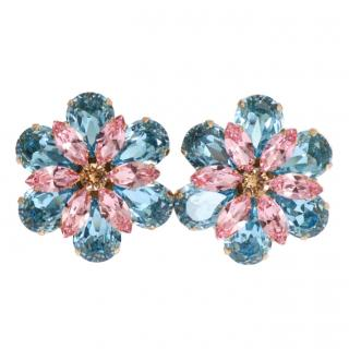 Dolce & Gabbana Blue & Pink Floral Crystal Earrings