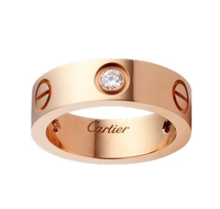 Cartier Love Ring with 3 Diamonds in 18kt Rose Gold