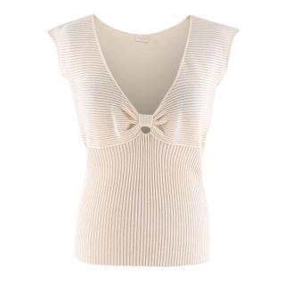 Valentino Cream Ribbed Knit V-Neck Top