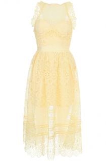 Self-Portrait Yellow Lace Apron Midi Dress