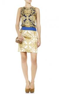 Tibi Blue, White & Gold Printed Sleeveless Dress