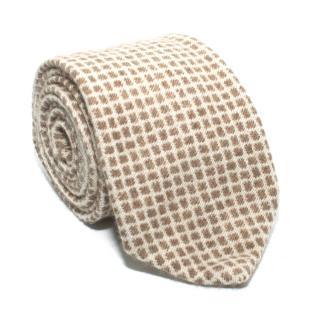 M. Bardelli Beige Checked Cashmere Tie