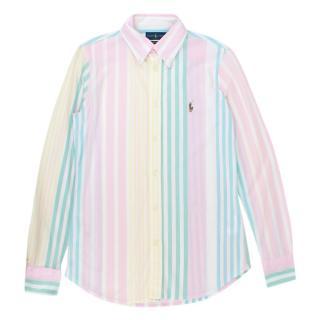 Ralph Lauren Pastel Striped Heidi Knit Oxford Shirt