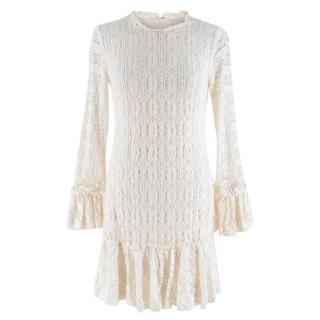 Shoshanna Cream Lace Knee Length Dress
