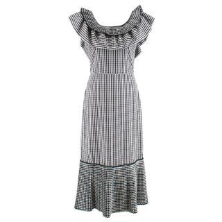 Delfi Collective Black & White Gigi Gingham Ruffle Midi Dress