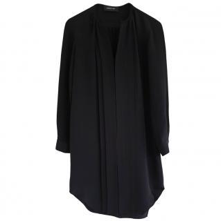 Derek Lam Black Silk Collarless Shirt Dress