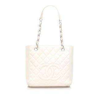 Chanel Caviar Leather White Petite Shopping Tote