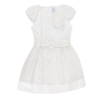 Simonetta White Check A-line Dress