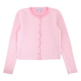 Simonetta Girls Pink Zig Zag Knit Cardigan