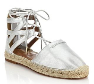 Aquazzura Belgravia Metallic Leather Espadrille Sandals