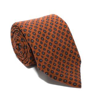 Marzullo Printed Orange Wool Tie