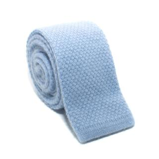 E. Marinella Blue Knitted Cashmere Tie