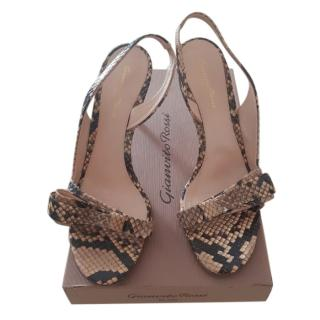 Gianvito Rossi Snakeskin Bow Detail Sandals