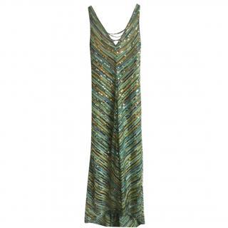 Missoni Green Metallic Embellished Gown