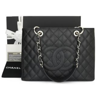 Chanel Black Caviar Leather Grand Shopping Tote