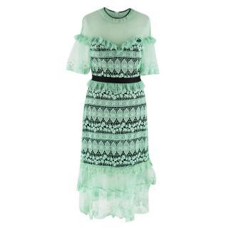Three Floor Mint Green Floral Lace Dress