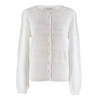 Valentino White Textured Knit Cardigan