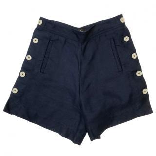 Loro Piana Blue Linen Shorts