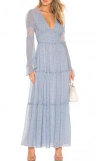 Divine Heritage Button Up Blue Floral Print Maxi Dress