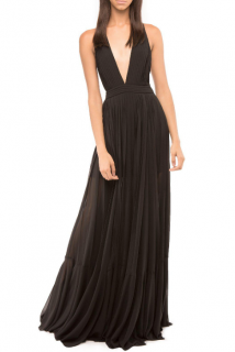 Milly Fiona Plunging V-Neck Pleated Chiffon Gown