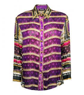 Balmain Purple Printed Silk Blouse