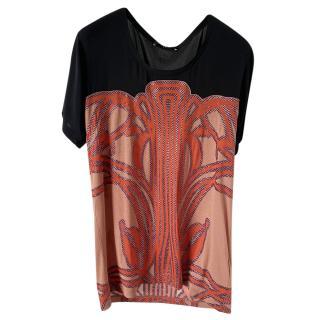 Gucci Coral Black Silk Semi Sheer Top