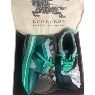 Burberry Suede & Leather Emerald Green Sneakers