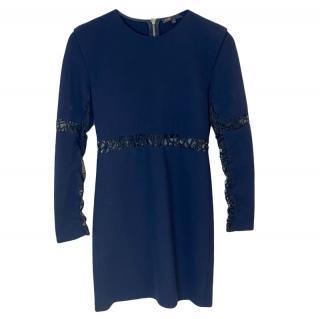 Maje Lace Detailed Blue Mini Dress