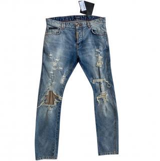 Philipp Plein Straight Leg Distressed Jeans
