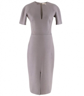 Victoria Beckham Wool Grey Shift Midi Dress