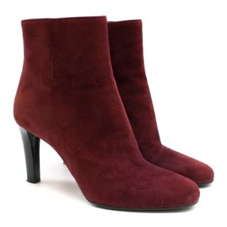 Prada Burgundy Suede Heeled Ankle Boots
