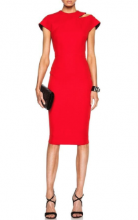 Victoria Beckham Red Cap Sleeve Cutout Shoulder Dress