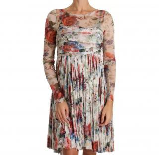 Dolce & Gabbana Pleated Ruched Floral Print Chiffon Dress