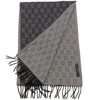 Gucci Monogram Black & Grey Cashmere Scarf