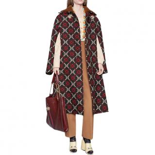 Gucci Macro Monogram Diamond Jacquard Cape Coat