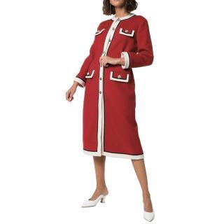 Gucci red collarless wool coat - new season