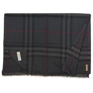 Burberry Charcoal Check Wool & Silk Scarf