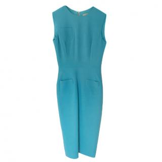 Victoria Beckham Blue Sleeveless Fitted Dress