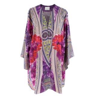 Athena Procopiou Purple Floral Silk Kimono