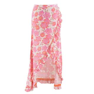 Paloma Blue Pink Floral Wrap Ruffle Skirt